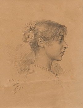 ALBERT EDELFELT, pencil, signed and dated 28 okt 1882.