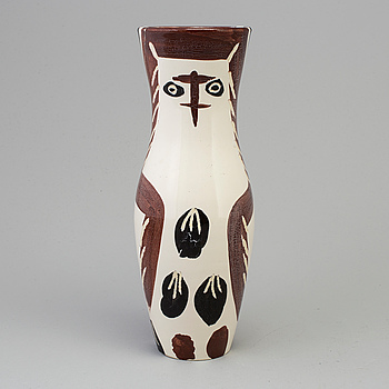"PABLO PICASSO, PABLO PICASSO, a ""Chouetton"", faience vase, Madoura, Vallauris, France 1952."