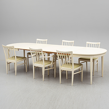 CARL MALMSTEN, a dining table with six chairs by Carl Malmsten, Bodafors, second half of the 20th century.