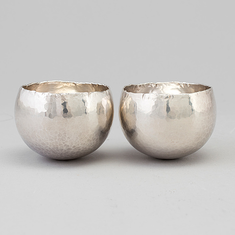 Rey urban, a pair of sterling silver tumblers, stockholm, 1987