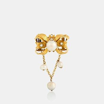 Möllenborg brosch/hänge 18K guld med flodpärlor och pärlor.