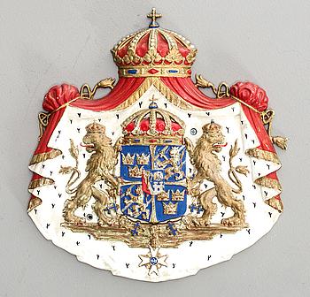 SKYLT FÖR KUNGLIG HOVLEVERANTÖR, metall,1900-tal.