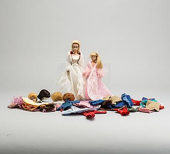 DOCKOR,  2 st.  Barbie,  Midge och Mantel, 1960-tal.