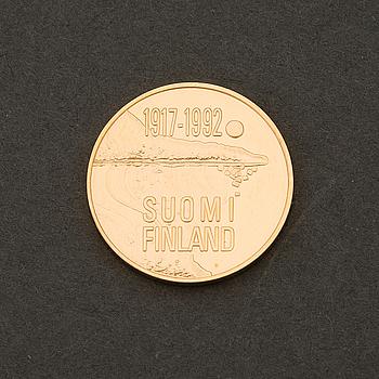 JUBILEUMSMYNT, guld .900, Finland, 1000 mk, Finland 75 år.