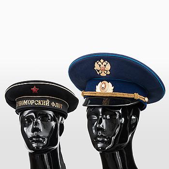UNIFORMSMÖSSOR, 2 st, Sovjetunionen och Ryska Federationen, 1900-talets andra hälft.