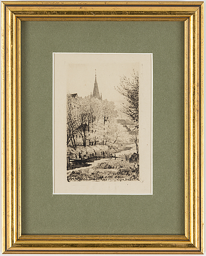 Axel herman hÄgg, etching, 1885, signed in plate