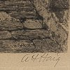 Axel herman hÄgg, etsning, 1887, signerad