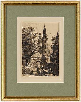 AXEL HERMAN HÄGG, Etsning, 1887, signerad i plåten.