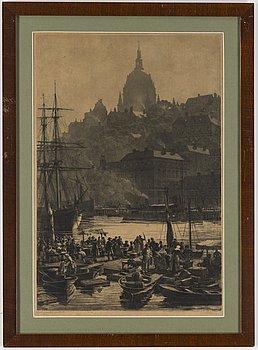AXEL HERMAN HÄGG, Etsning, 1888, signerad.