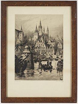 AXEL HERMAN HÄGG, Etsning, 1891, signerad.