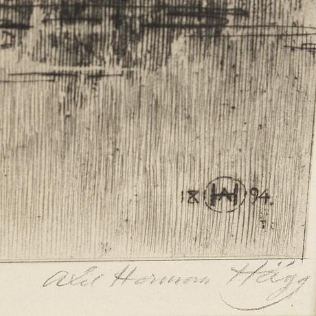 Axel herman hÄgg, etsning, 1894, signerad