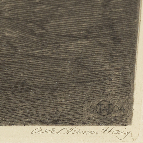 Axel herman hägg, etching, 1904, signed.