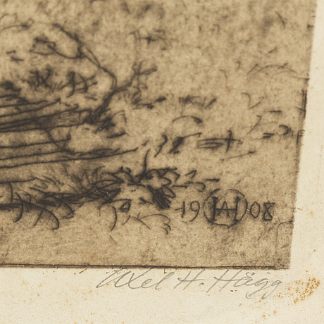 Axel herman hÄgg, etsning, 1908, signerad