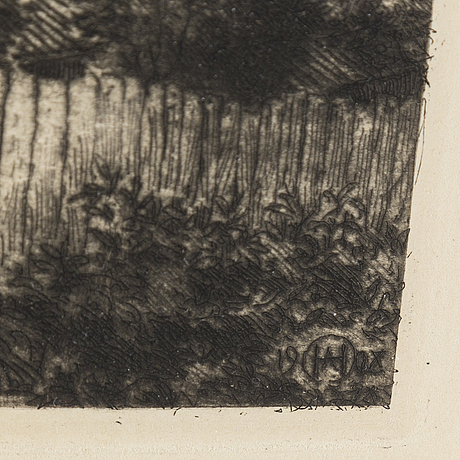 Axel herman hÄgg, etsning, 1908, signerad i plåten