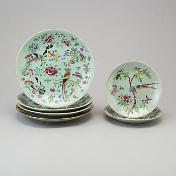 FAT, sex stycken, porslin. Kanton, Qingdynastin, sent 1800-tal.