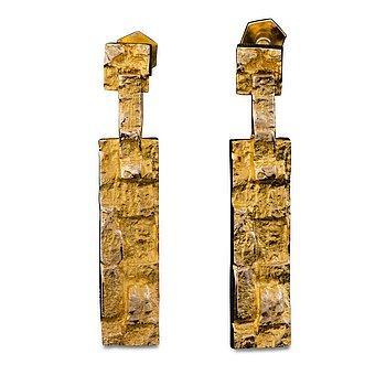 "114. Björn Weckström, A PAIR OF EARRINGS, ""Tundra"", 14K gold. Lapponia 1971."