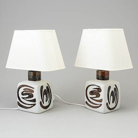 """Carl harry stÅlhane, bordslampor, ett par, stengods, """"orient"""", rörstrand, 1970 tal"""