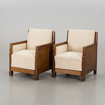 A pair of art deco armchairs, first half of 20th century,