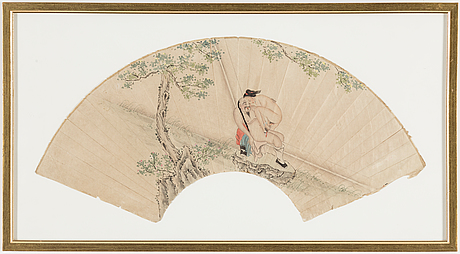 Two chinese fan paintings, late 19th/early 20th century.