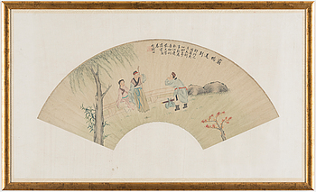 A Chinese fan painting, late 19th/early 20th century.