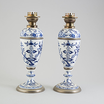 A pair of early 20th century porcelin table lights, possibly Dresden.