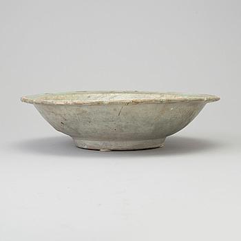 A Sawankhalok celadon dish, 15th century.