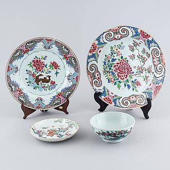 PARTI PORSLIN, 4 delar, Kina, 1700- 1900-tal.