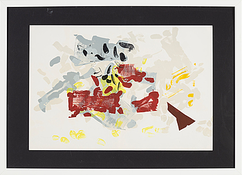 JEAN-PAUL RIOPELLE, colour lithographe, from Derrière le Miroir nr 171, 1968.