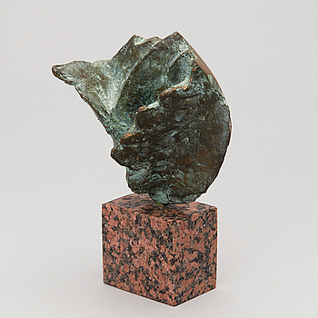 A bronze and granite sculpture, signed TR, dated 94, numbered 28/30.