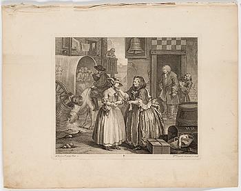 "WILLIAM HOGARTH, WILLIAM HOGARTH, six copper engravings ""A Harlot's Progress"", plate 1-6."