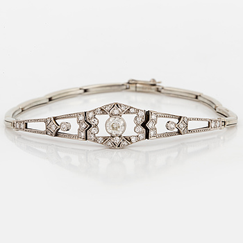 ARMBAND, 18K vitguld med diamanter.