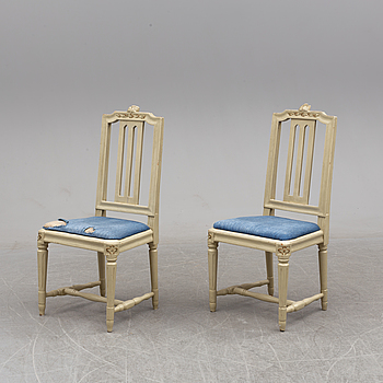 A apir of end of the 18th century chairs by Johan Lindgren, Stockholm.
