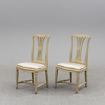 GUSTAVIANSK, A pair of late 18th century Gustavian chairs, Stockholm.