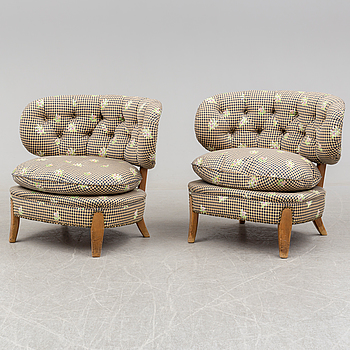 A pair of armchairs, designed by Otto Schultz, mid 20th century.