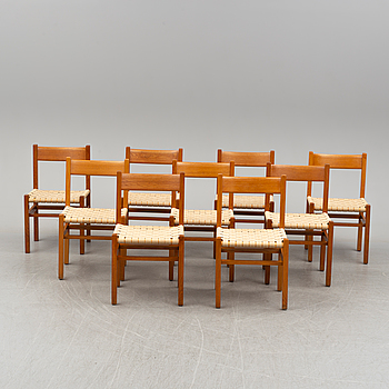 A set of nine chairs by Andrées Fabriks AB, Ruda.