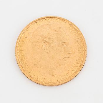GULDMYNT, 20 kr, Christian X, Danmark, 1913.