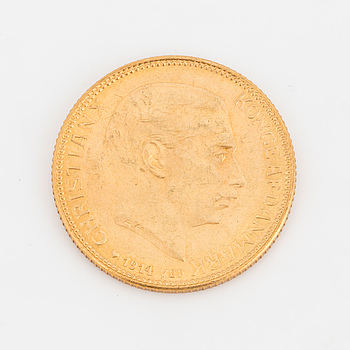 GULDMYNT, 20 kr, Christian X, Danmark, 1914.