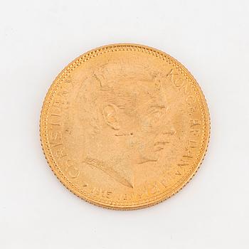 GULDMYNT, 20 kr, Christian X, Danmark, 1915.