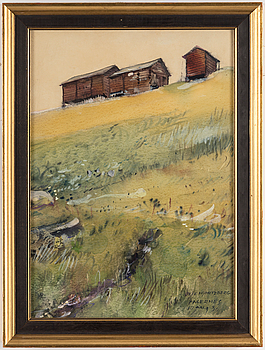 OLLE HJORTZBERG, akvarell och täckvitt, signerad Fagernes 10 aug -30.