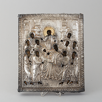 A Russian icon with silver ochlad, maker's mark Michail Peippo, St. Petersburg, 1857-90.