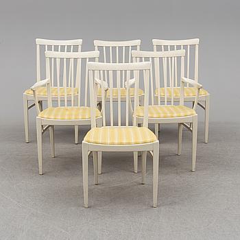 """CARL MALMSTEN, stolar, 6 stycken, varav 2 med karm, """"Herrgården"""", 1900-talets andra hälft."""