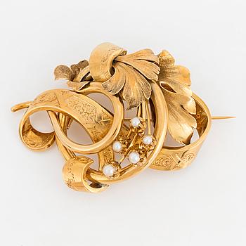 BROSCH, 18K guld med odlade pärlor.
