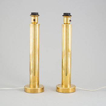 A pair of brass table lamps, second half of the 20th century.