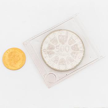 GULDMYNT, 1 ducat. Österrike 1915 och mynt 500 schilling, 1000 Jahre Steyr 1980.