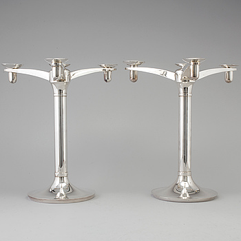 RICHARD FOX, a pair of three armed, four light sterling candelabra, London, 2001 and 2013.