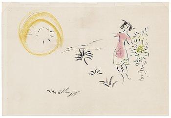 """MARC CHAGALL, färglitografi, ur """"Nice et la Cote d'Azur"""", Mourlot Éditeur, Paris 1967."""