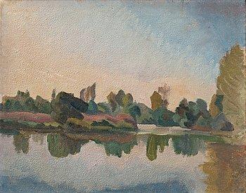 """423. IVAN AGUÉLI, """"Flodlandskap"""" (River landscape) / """"Flodlandskap vid Loire"""" (River landscape by the Loire)."""