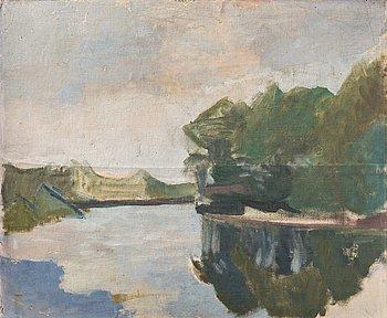 """395. IVAN AGUÉLI, """"Från stranden av Loire, motiv från Azay-le-Rideau"""" (From the banks of the river Loire, scene from Azay-le-Rideau)."""