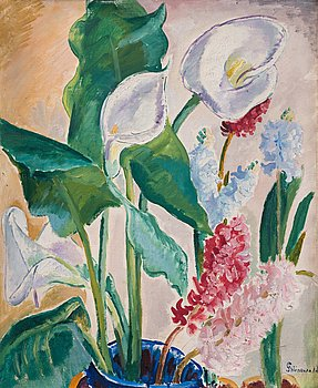 405. ISAAC GRÜNEWALD, Blomsterstilleben med kallor och hyacinter.