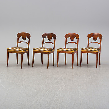 EMPIRE, A set of four chairs, mid 19th century.
